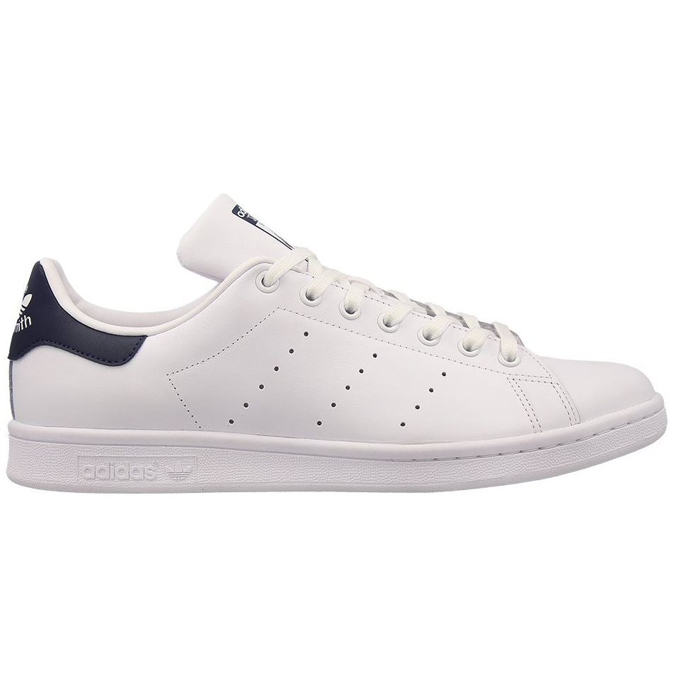 f671ff61476fdb Adidas Mens Stan Smith Leather Trainers White With Navy Heel