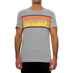 Superdry Mens Core Logo Stripe Tee Pullover Gym T-Shirt  Grey Marl