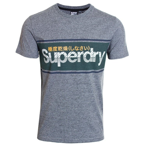 Superdry Mens Core Logo Stripe Tee Pullover T-Shirt  Academy Grey Twill