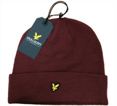 Lyle & Scott Mens Unisex Beanie Hat Winter Headwear Burgundy