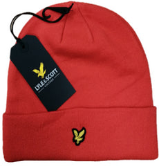 Lyle & Scott Mens Woolly Beanie Hat Gala Red