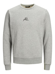 Jack&Jones Mens JPRBLA  Sweat Crew Neck Gym Pullover Top  Grey