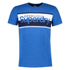 Superdry Mens Core Logo Stripe Tee Pullover Casual T-Shirt   Royal Marl