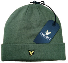 Lyle & Scott Mens  Woolly Beanie Hat Outside Knit Hat Lichen Green