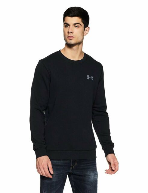 Under Armour Mens Sports Jumper UA Rival Fleece Fitted Crew Top Sweat Black