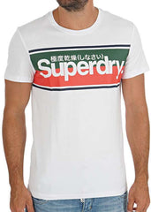 Superdry Mens Core Logo Stripe Tee Classic Pullover Tee   Optic
