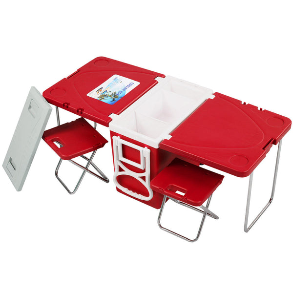 Rolling Cooler Picnic Camping Outdoor w/ Table & 2 Chairs Red