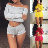 New Style Women Casual Sets Long Sleeve Off Shoulder Pullover Tops+Solid Color Lace Up Shorts 2PCS Fashion Women Ladies Sets