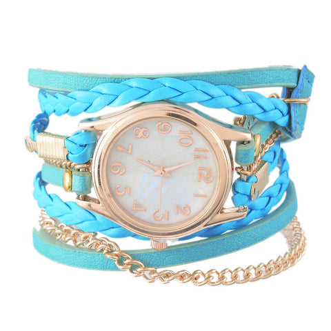 Leather Weave Chain Bracelet Quartz Wrist Watches