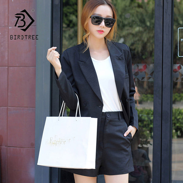 Double Breasted Blazer &High Waist Slim Shorts