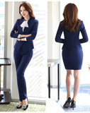 V-Neck Blazer Knee Length Skirt/Pants
