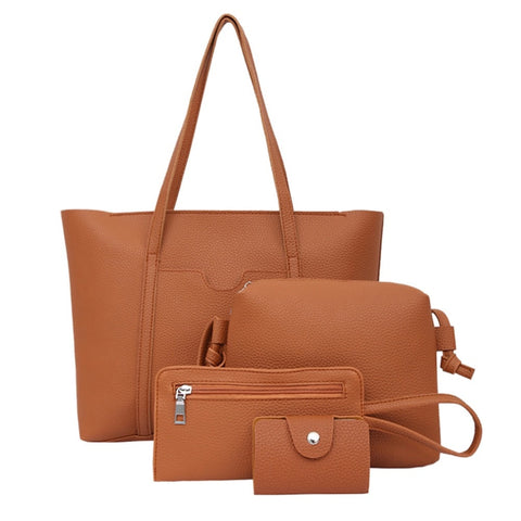 4pc Leather Handbag  Large