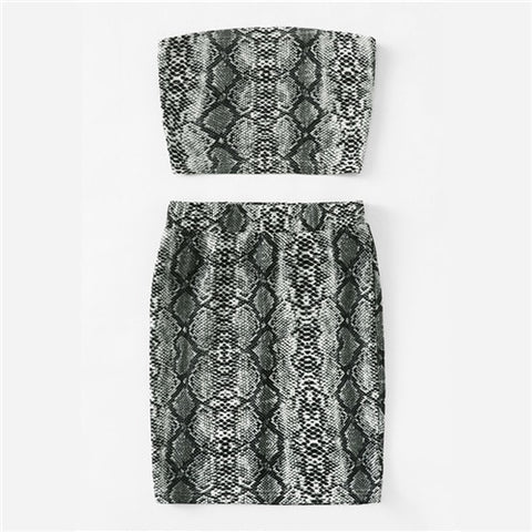 Snake Print Off-the-Shoulder Bandeau Skirt Set