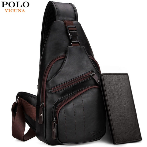 VICUNA POLO Extra Large Size Fashion Mens Shoulder Bag Burglarproof Snapper Black Leather Mens Messenger Bag Travel Chest Bag