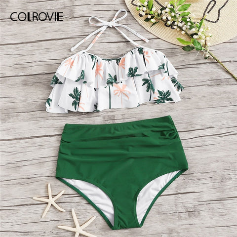 Tropical Ruffle Halter Beach Sexy Two Piece Set
