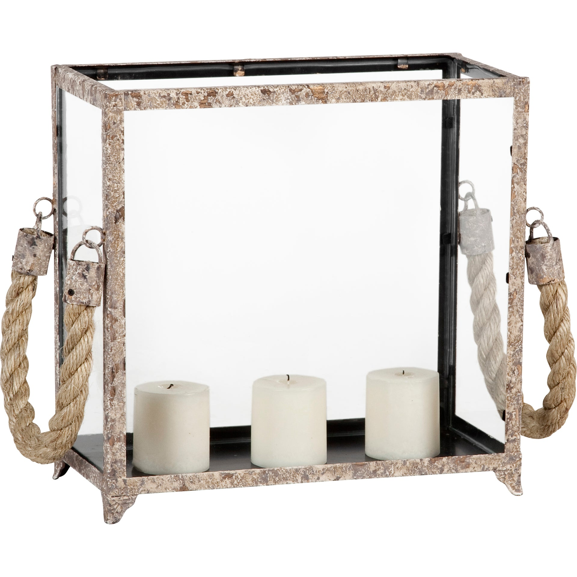 Santorini Glass Candle Box with Rope Handles