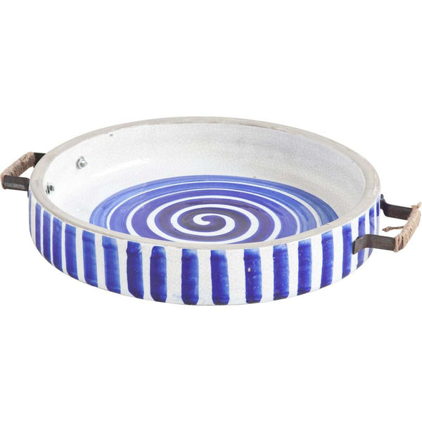 Handpainted Blue Swirl Ceramic Tray and Metal Handles