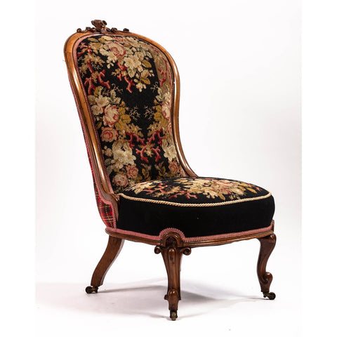 19th Century Needlepoint Upholstered English Slipper Chair