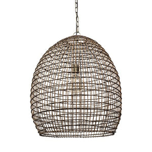 Marbella Brown Woven Straw Orb Pendant Light