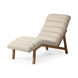 Sloane Cream Fabric Upholstered Armless Chaise Lounge Chair