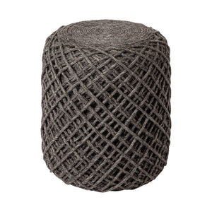 The Skein Wool Pouf, Charcoal