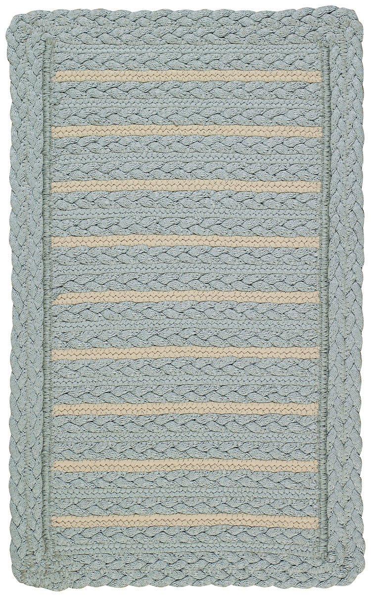 Coastal Blue Braided Area Rug, Reversible
