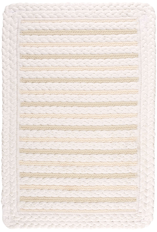 Nautical White Braided Rug, Reversible.