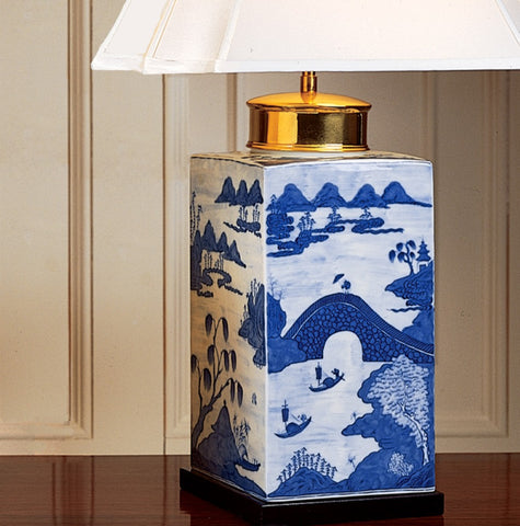 Blue Canton Large Tea Jar Lamp