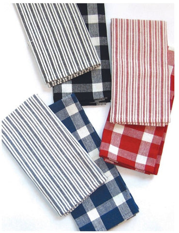 Tavern Kitchen Towels Stripe and Check Pattern - 2-PC Set