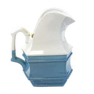 Wedgewood Blue Fluted Ceramic Pitcher