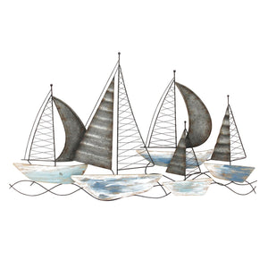 Coastal Blue Metal Abstract Boat Wall Decor