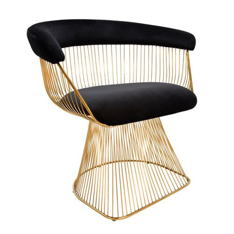 Braxton Wire Contemporary Chair Black and Gold