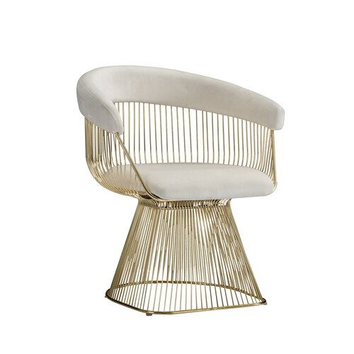 Braxton Wire Contemporary Chair White and Gold