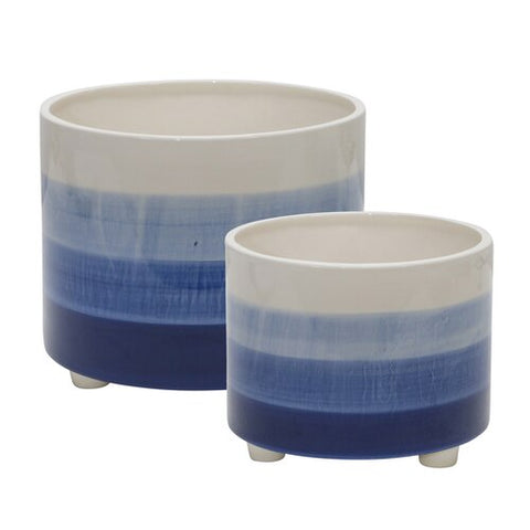 Blue Ombre Footed Ceramic Planters Set of 2