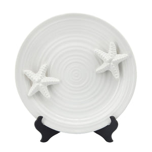 Starfish White Ceramic Coastal Plate