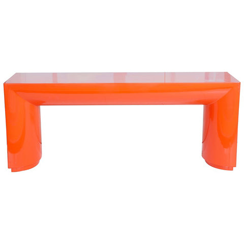Orange Lacquered Karl Springer Style Console