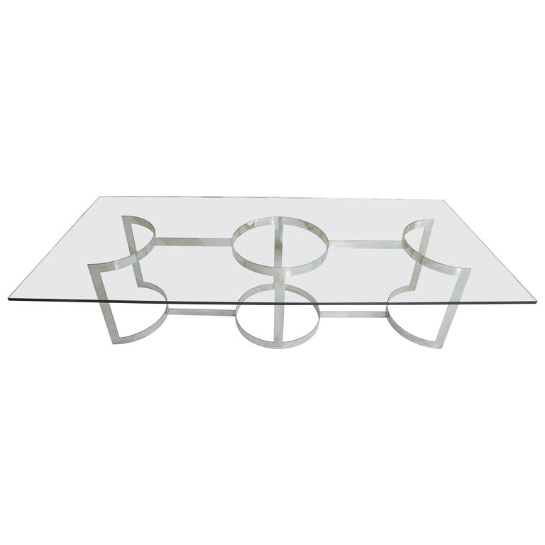 Glass Top Dining Table with Milo Baughman Designed Chrome Base