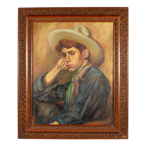 Frowning Cowboy' Painting within Intricate Wood Frame