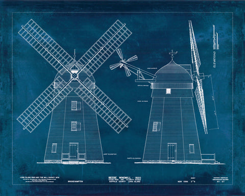 Vintage Blueprint of Beebe Windmill