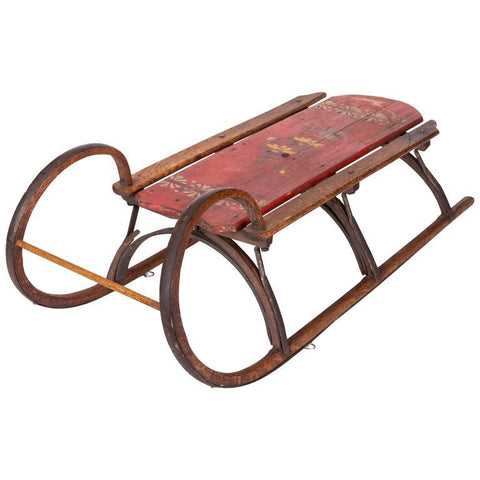 19th-Century Bentwood and Iron Ram Horn Sled