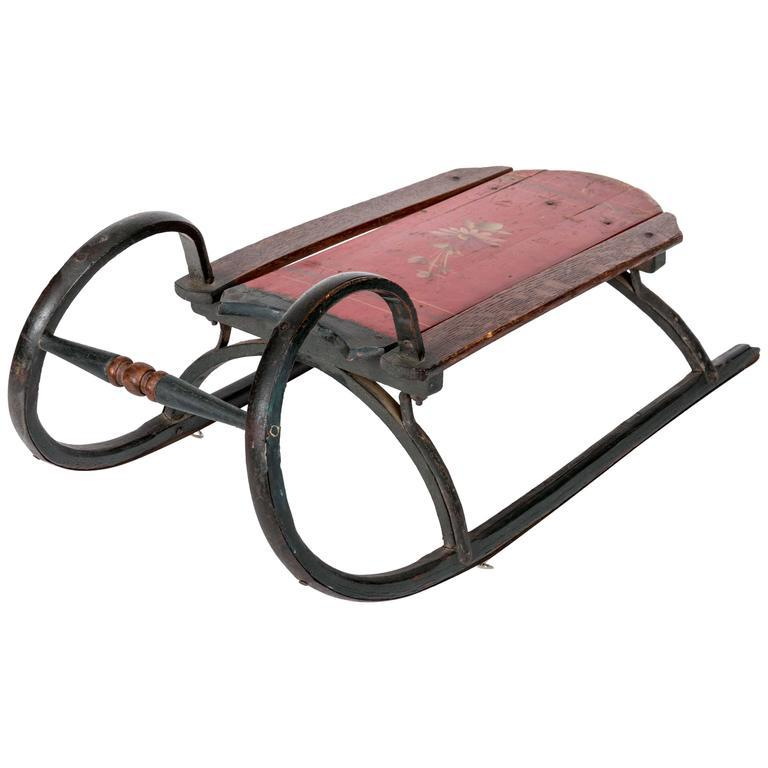 19th-Century Ram Horn Childs Sled in Original Red Paint