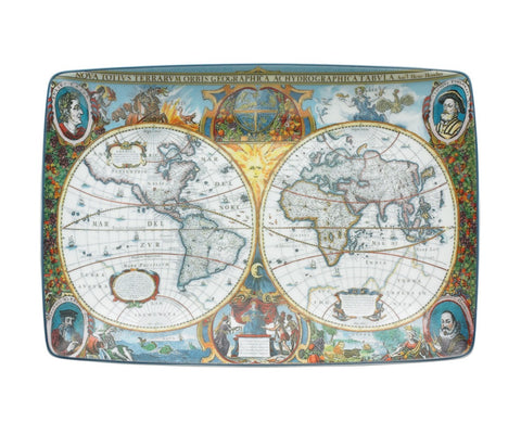 World Map Hondius Rectangle Tray (Large)