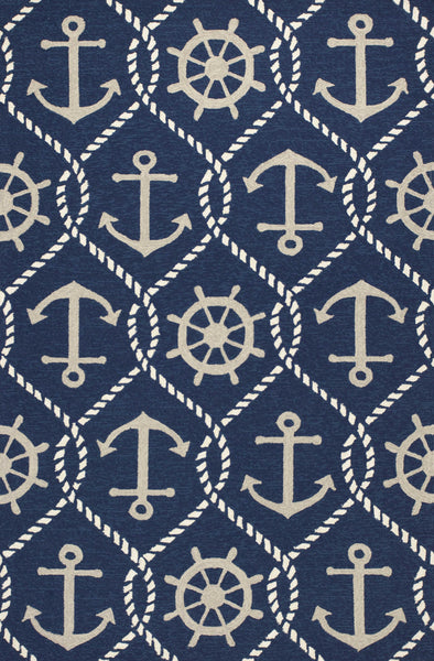 Navy Anchor & Shipwheel Area Rug