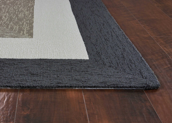 Patterned Charcoal Grey Area Rug