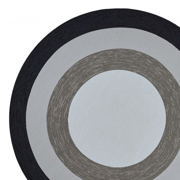 Patterned Charcoal Grey Round Area Rug, 7'