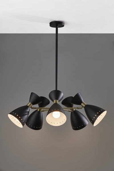 Mid-Century Black Metal Five-Head Pendant Lamp