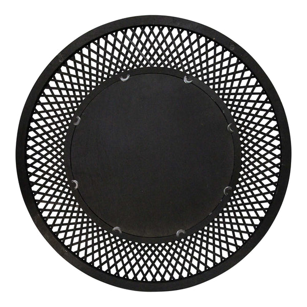 Black Bamboo Wood Glass Rattan Mirror, 38""