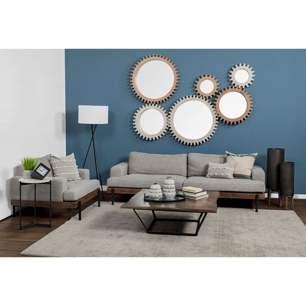 The Cog Round White Wood Frame Wall Mirror, 35.5""