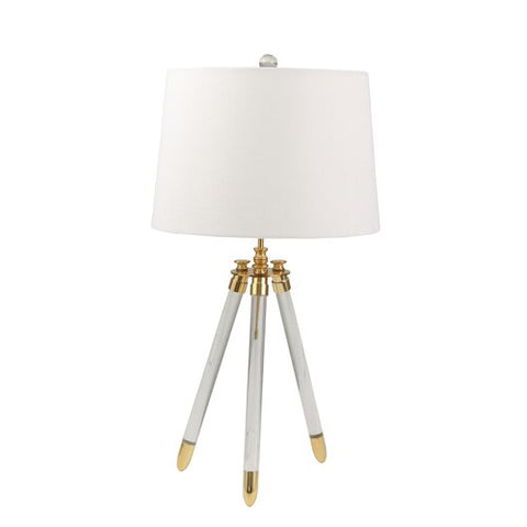"Avery Tripod Acrylic Table Desk Lamp 29"", Gold and Silver"