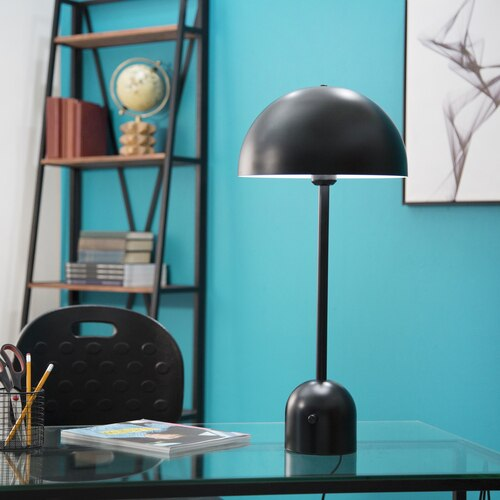 Rollins Black Matte Tall Dome Task Table Lamp